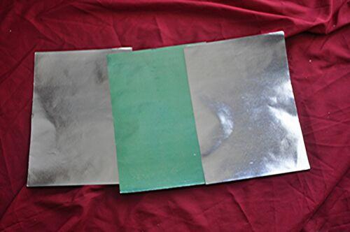 """VTG 1960S GERMAN CRAFT FOIL OVR PAPER UNUSED 3 SHEETS 2 SILVER 1 GREEN 11.5"""""""