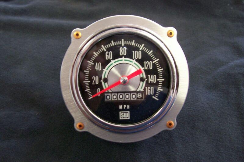 """Aluminum Aviator Bomber Dash Speedometer 3 3/8"""" Gauge Panel Rivet Bezel 4-bolt"""