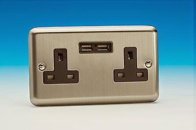 XS5U2B - USB Charging Socket Matt Chrome (Stainless Steel)