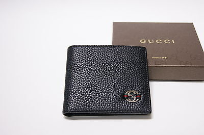 New Gucci Authentic Men's Black GG Metal Web Bifold Leather Wallet