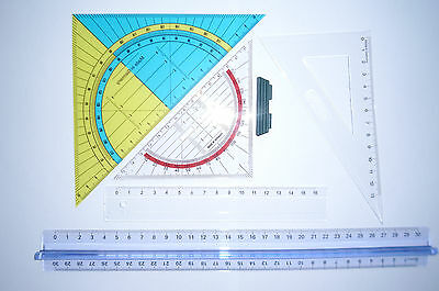 Geoset 5 tlg Geometrie Set Geodreieck Groß + Klein Lineal 16 + 30cm Dreieck 13cm