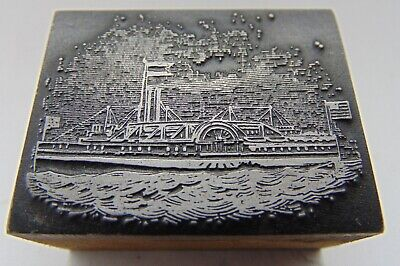 Printing Letterpress Printers Block Ship On Water With Flags