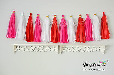 DIY Kit Valentine Tissue paper tassel garland Party Wedding Banner Birthday