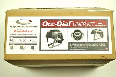 NEW! Ops-Core Occ-Dial Helmet Liner Kit MICH/ACH Green Strap LARGE (L) 49-99-162