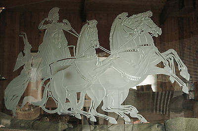 Original 3D Glass Etching of Horses and Roman Chariot, 54'' x  31''