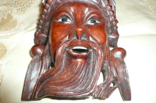 Antique Chinese Carved Wooden  Head of Bearded Man and Dragons