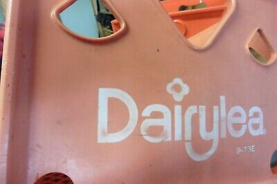 Vintage Dairylea Rare pink Heart style Milk bottle crate Solid plastic sides