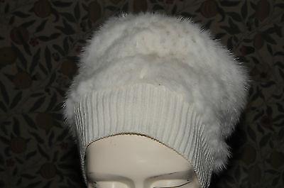 EXQUISITE J. MENDEL Pearl White Mink Fur Cashmere HAT RARE