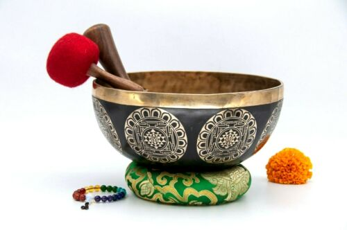 10 inches Diameter shree yantra carved handmade singing bowl-Chakra healing bowl
