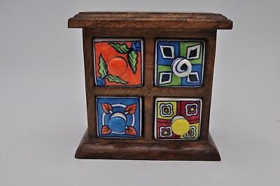 Ceramic Spice Box - Vintage Wooden Box Painted Ceramic Drawers Tea Jewelry Spices Trinket Dresser