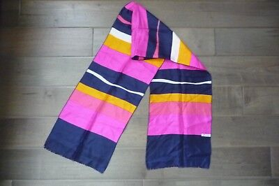 "Vintage Never Used  100% Silk  Multicolor Striped Scarf  Made in France 10""X 54"""