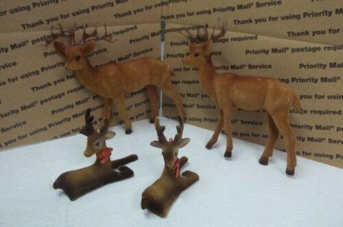 Vintage Flocked Felt Plastic Deer Bucks Set Of 4