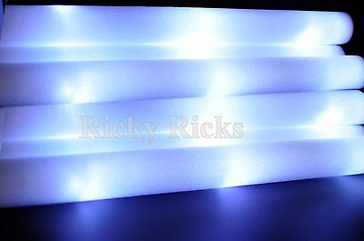 100 PCS Easy-Up White Foam Sticks LED Flashing Wands Rally Rave Glow Baton