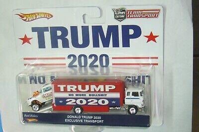 "HOT WHEELS TEAM TRANSPORT TRUMP 2020 ""55 CHEVY GASSER & SAKURA SPRINTER DONALD !"