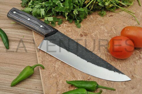 HANDMADE CARBON STEEL BLADE FULL TANG  SERBIAN CHEF KNIFE PAKKA WOOD HANDLE