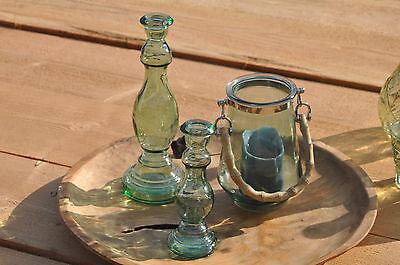 Glas 1 Licht Hängen (3er Set 1 Windlicht Teelicht Hängelaterne 2 Kerzenständer Glas als Vase nutzbar)