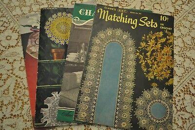 4 Vintage Crochet Tatting Knitting DOILIES CALLA LILY MATCHING SETS CHAIR BACKS ()