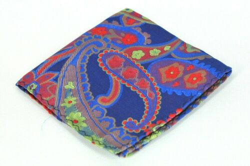 Lord R Colton Masterworks Konya Turkish Blue Floral Silk Pocket Square - $75 New