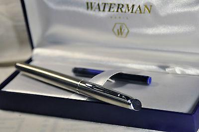 """""""Waterman"""" Hemisphere Essential Stainless Steel/CT Fountain Pen M nib w/Orig.box"""