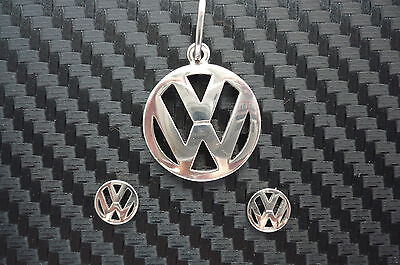 VW Vokswagen marking silver jewellery set (1 pendant + a pair of earrings)