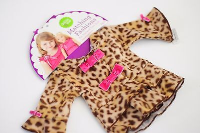"DOLLIE & ME FLEECE LEOPARD RUFFLE TOP WITH BOWS FOR 18"" DOLL NEW"