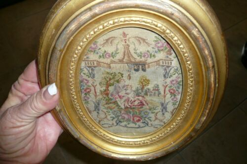 19C Antique Victorian  Petit Point Tapestry Framed