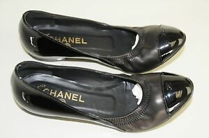 NEW-CHANEL-Black-Patent-amp-Nappa-Leather-Ballet-SHOES-BALLERINA-FLATS-37-5-7-bag