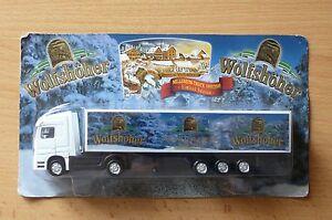 Modellino-autocarro-per-birra-Rimorchio-trasporto-BENZ-wolfshoher-Millenium-2000