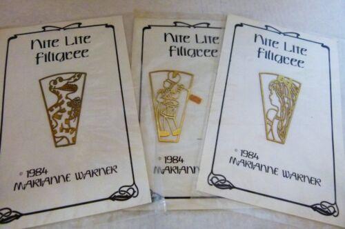 3 Night Light Nite Lite brass Filigree Pieces Stained Glass Marianne Warner 1984