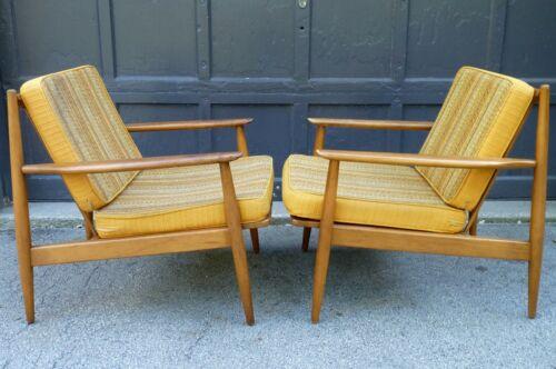 Danish Modern Mid Century Grete Jalk Era Easy Arm Lounge Chairs w orig cushions