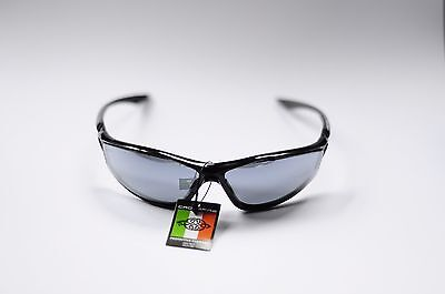 CROSSFIRE 3463 KP6 SILVER MIRROR LENS SHINY BLACK FRAME SAFETY GLASSES NEW