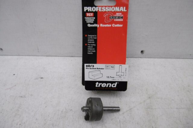 "TREND PROFESSIONAL 8D/3 TC 1/2"" PIN GUIDED REBATER ROUTER CUTTER BIT 1/4"" SHANK"