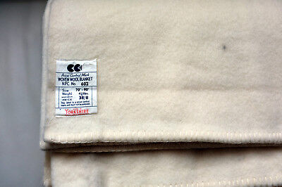 CC41 Woven Wool Blanket vintage 1940s Price Control Utility Mark