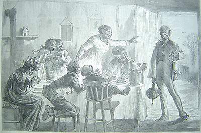 THANKSGIVING RETURN FROM COLLAGE BLACK AMERICANA 1877 HARPER'S WEEKLY