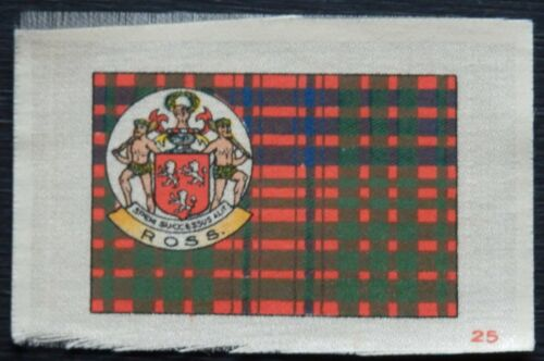 ROSS Clan Tartan and Coat of Arms SILK card issued in 1922