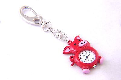 Lovely Pig KEYCHAIN Red Color with White Dial Number QUARTZ WATCH