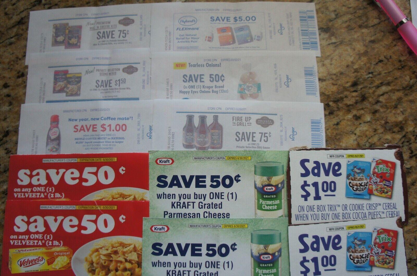Lot Of Kroger Grocery Coupons Kraft Velveeta General Mills Coffee Mate - $2.99
