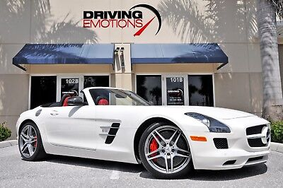 2012 Mercedes-Benz SLS AMG Roadster Convertible 2-Door 2012 MERCEDES SLS AMG ROADSTER! DESIGNO MYSTIC WHITE/CLASSIC RED! LOADED! RARE!!