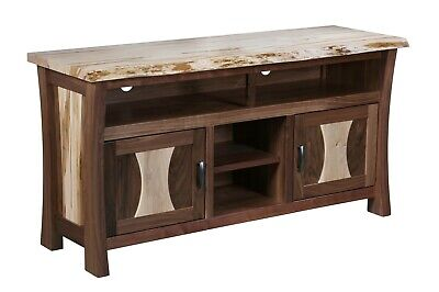 - Amish Live Edge Solid Wood TV Stand Console Walnut Maple Wood 60