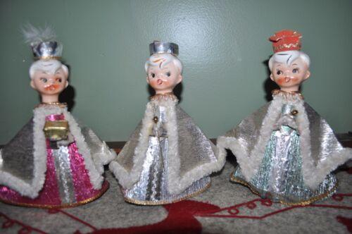 Vintage THREE WISE MEN Figurines JAPAN Nativity CERAMIC/CARDBOARD Christmas