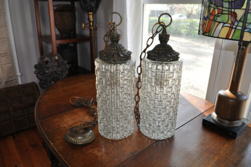 Vintage Pair Falkenstein Swag Hanging Lamp Light Hollywood Mid Century Glass