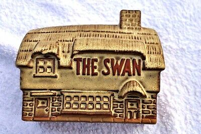 TREMAR  UK  STONEWARE  'THE  SWAN  INN'  MONEY  BOX