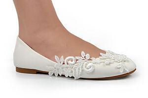 Creme Mariage Crochet Dentelle Chaussures Plates Nuptial Ballerine
