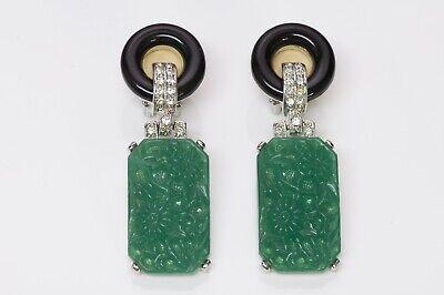 Kenneth Jay Lane KJL Carved Faux Jade Art Deco Style Earrings
