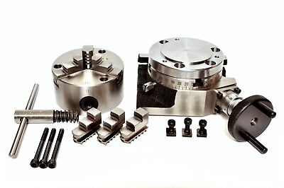 Rotary Table 4 With 100mm Self Centering 3 Jaw Chuck With Backplate