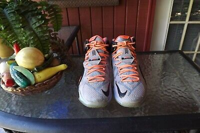 66ab8d394877 Nike Lebron 12 XII Easter Aluminum Sunset Glow Black 684593-488 Sz. 9