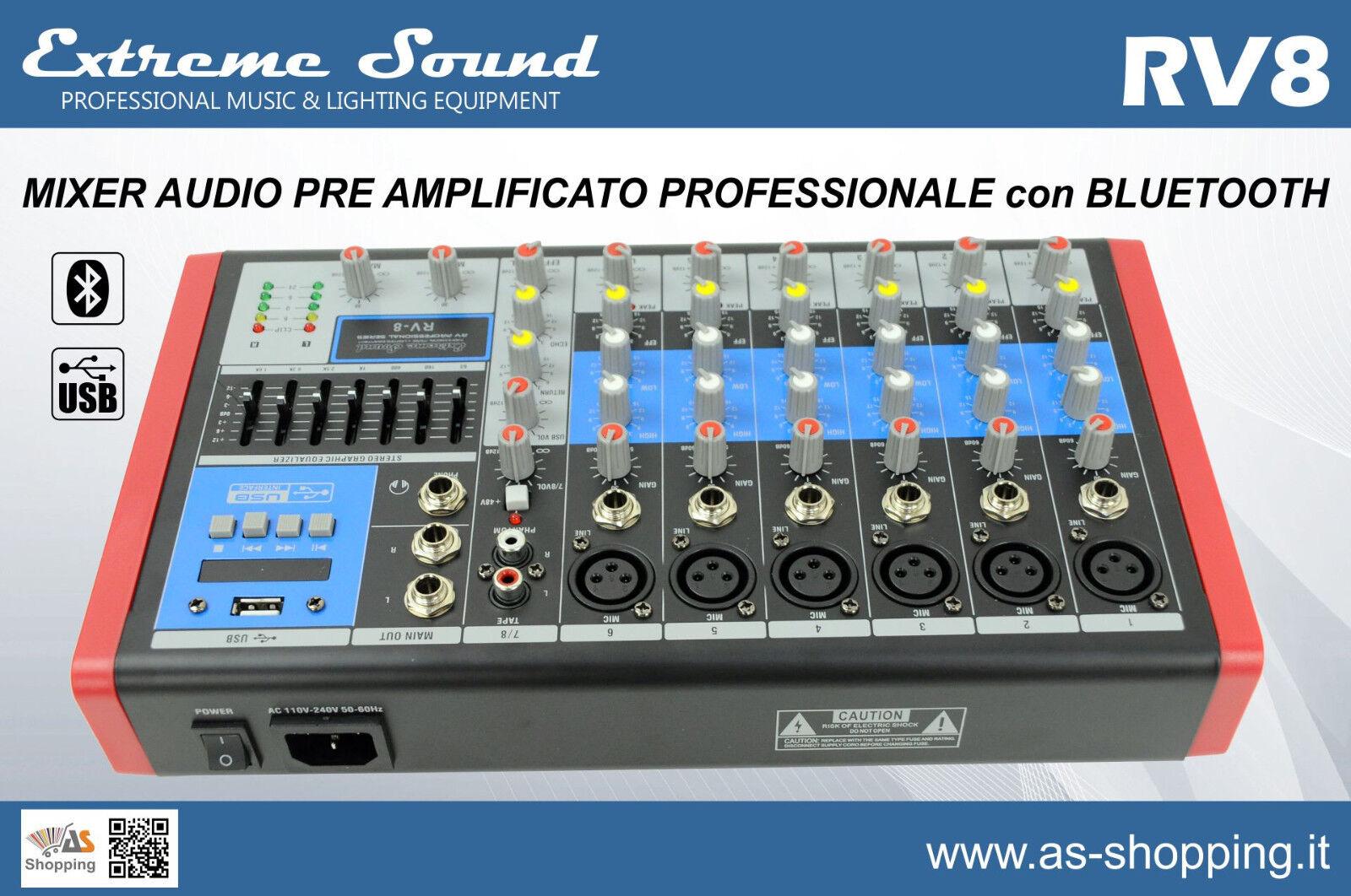 MIXER 8 CANALI PROFESSIONALE CON USB BLUETOOTH EFFETTI ECO DJ KARAOKE PIANOBAR