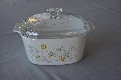 - Vintage Corning Ware Floral Bouquet 3 Quart Casserole Dish  With Lid