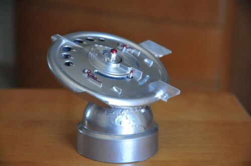"1956 DURO MOLD VINTAGE ""SILVER"" FLYING SAUCER METAL BANK WITH KEY RARE!"