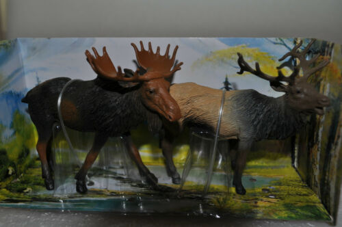 NEW RAY WILDLIFE MOOSE & ELK (SET OF 2 FIGURES)